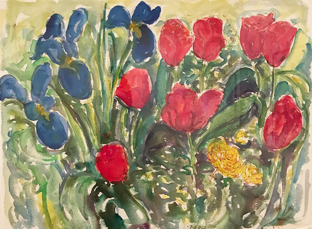 Tulips with irises
