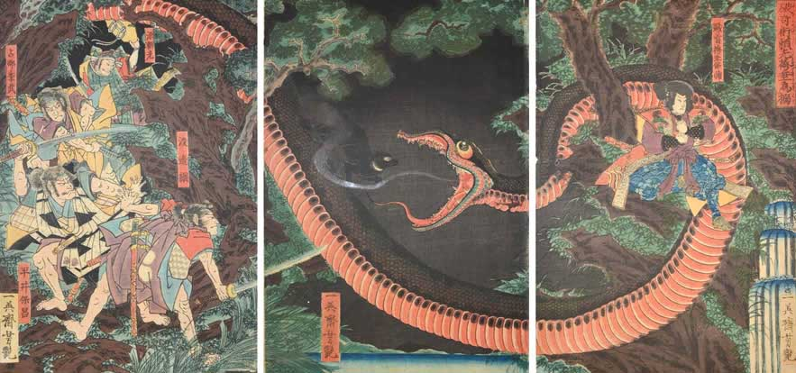 UTAGAWA YOSHITSUYA: The battle between Minamoto no Yorimitsu with his men and the robber chief, Hakamoddare no Mochisuke who is aided by a giant serpent