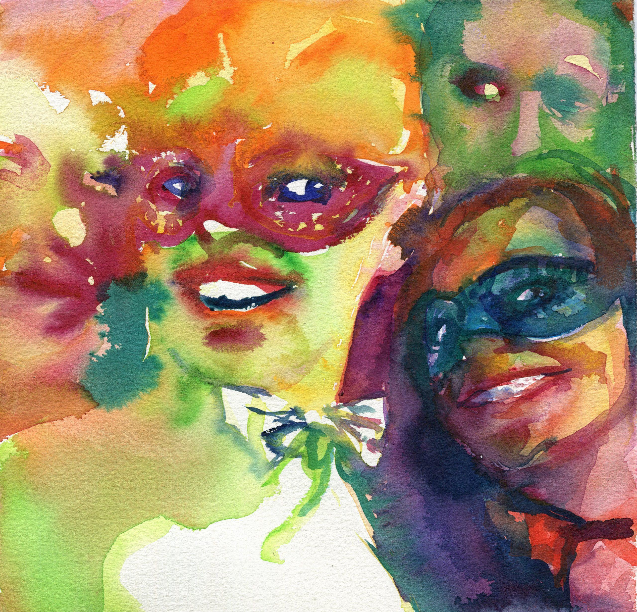 Masked crowd