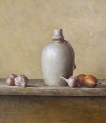Still life with vessel, garlic and onion