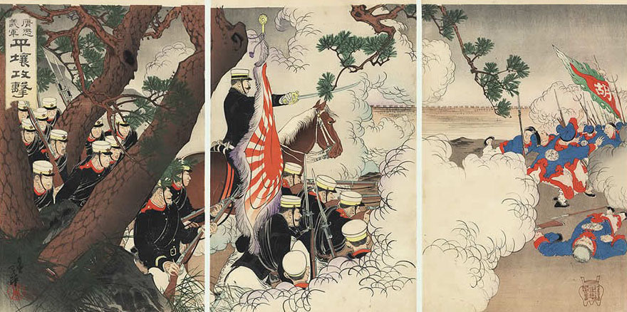 MIGITA TOSHIHIDE (1835 – 1900) – Japanese troops engaging with the Chinese  army during the battle of Pyongyang