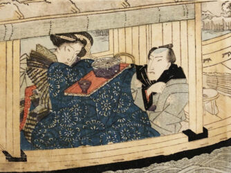 UTAGAWA KUNISADA (TOYOKUNI III) (1786 – 1864) – Lovers picnicking on a boat  c.