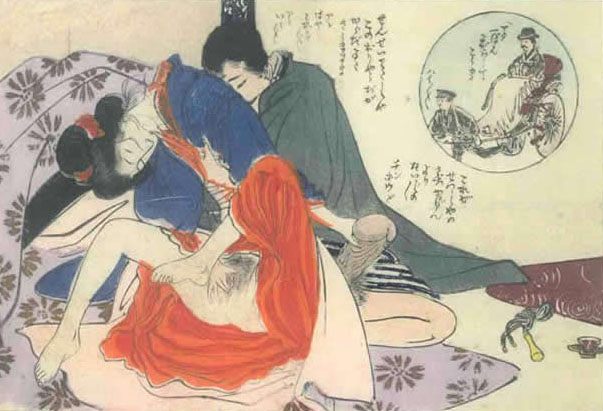TOMIOKA EISEN (1864 – 1905) – A couple making love (inset: en route to the assignment)  c.