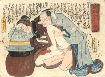 UTAGAWA SCHOOL – A woman shielding her face from a steam  kettle with a fan having intercourse with a man wearing a false nose  c.