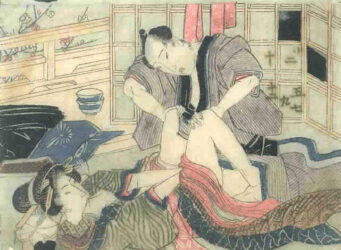 UTAGAWA SCHOOL – A couple making love in front of a screen  c.