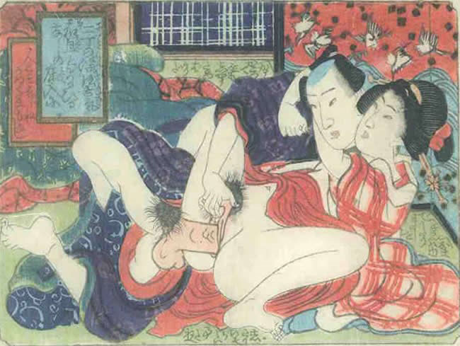 UTAGAWA SCHOOL – A couple making love in front of a screen with flying birds and surging waves  c.