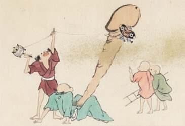 UTAGAWA SCHOOL – A foot soldier (yakko-dako) kite ensnared  on an enormous erect penis  c.