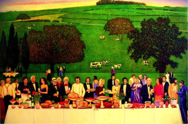 Feast for David Hockney at Glyndebourne Opera House to celebrate the opening performance of 'The Rakes Progress'