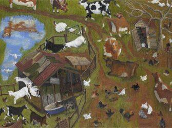 Farmyard with diagonal cows