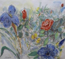 Irises, roses and daffodils