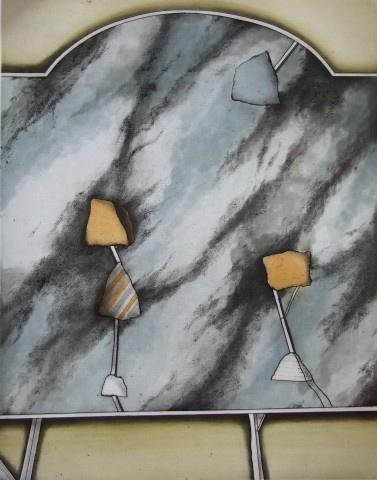 Emblems IV – (shapes on blue black marbled background)