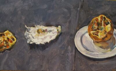 Still life with pomegranate and oyster shell II