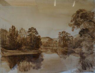 River bend at dusk (large study)