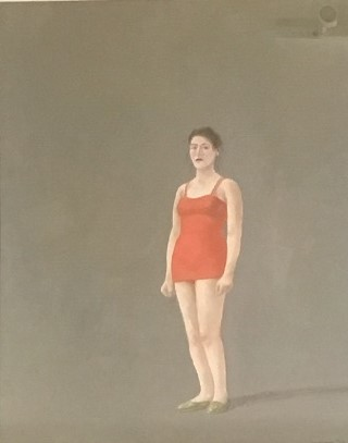 Bather in red costume