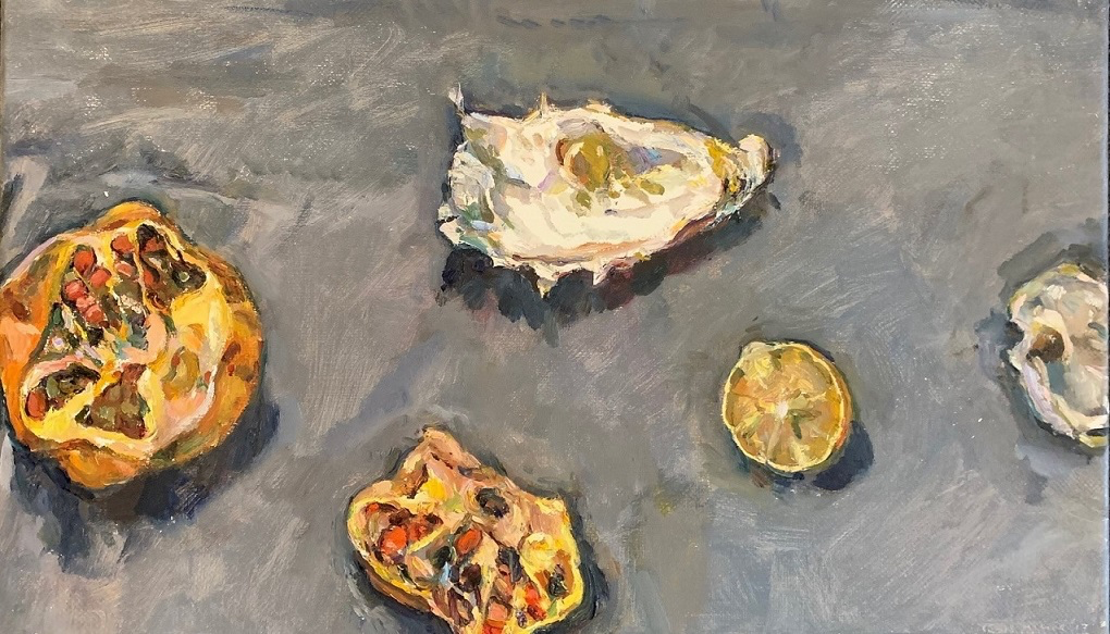 Still life with pomegranate, oyster shell and lemon