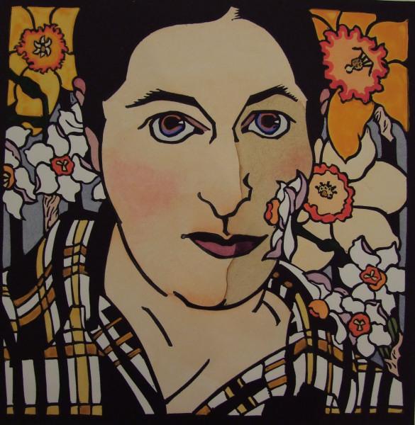 Self-portrait with Daffodils