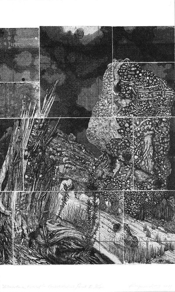 Elsewhere World (Final consolidated E) red ink/black ink
