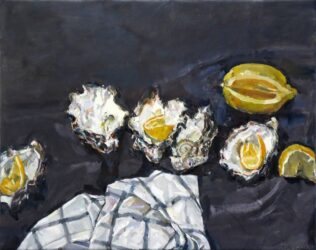 Oyster shells with tea towel