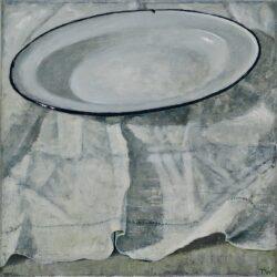 Enamel plate on cloth