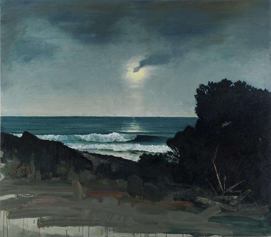 Moon rising, breaking waves