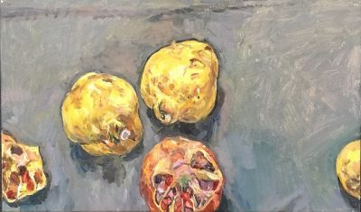 Still life with pomegranate and quinces