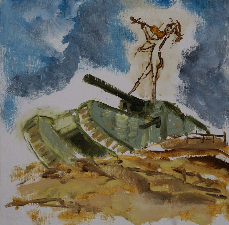 Violinist and tank