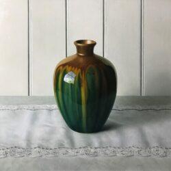 Old green glazed vase on Jean's runner