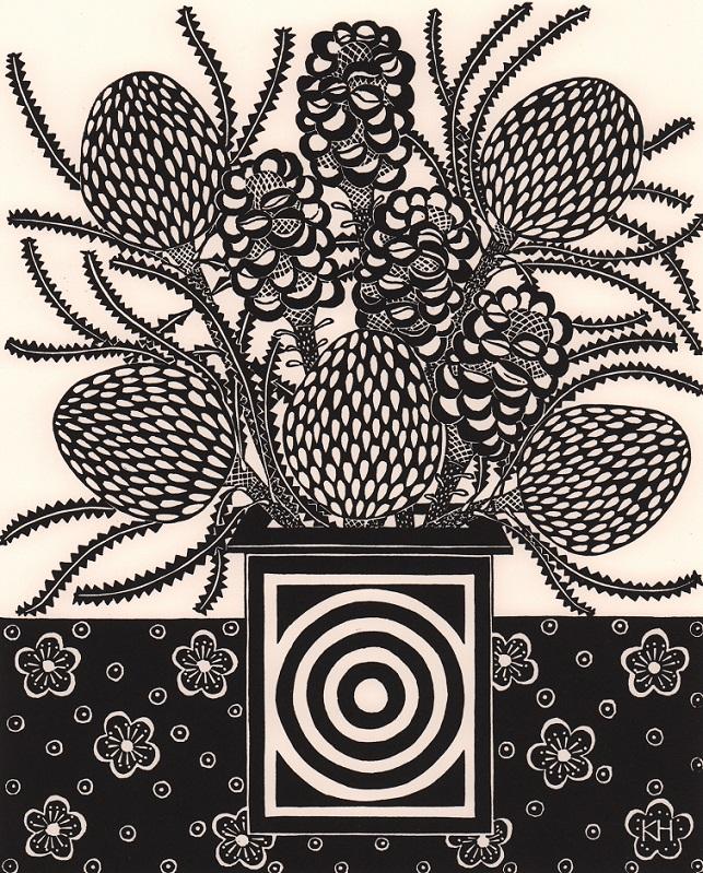 Dried banksias & circle vase