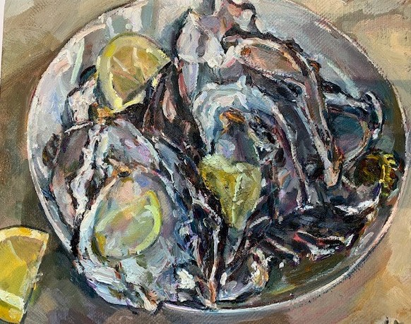 Study for Oyster shells and lemons in white bowl