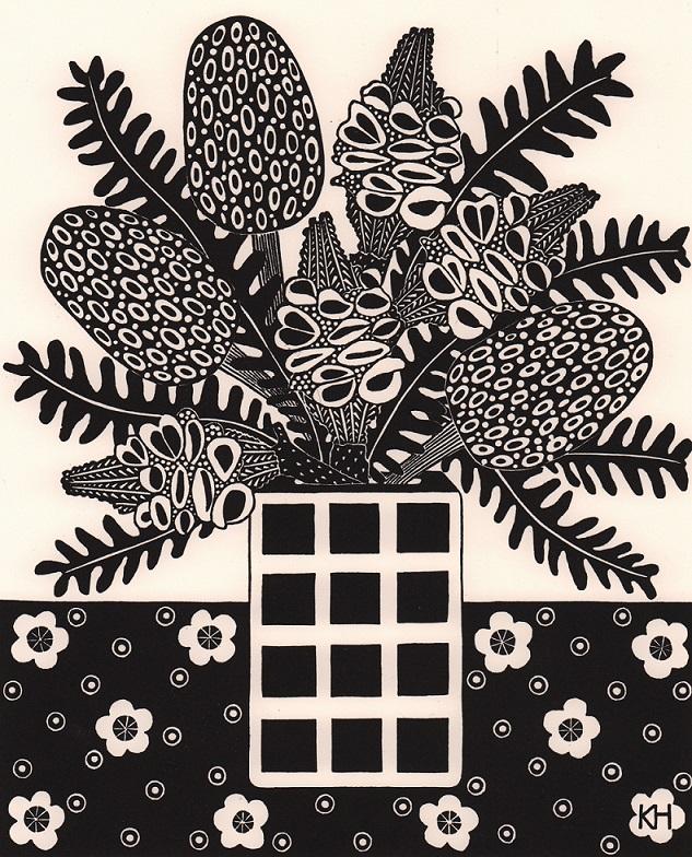 Square vase & banksia