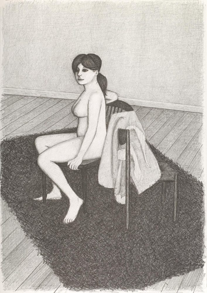 Nude seated facing left with robe on chair on shag rug