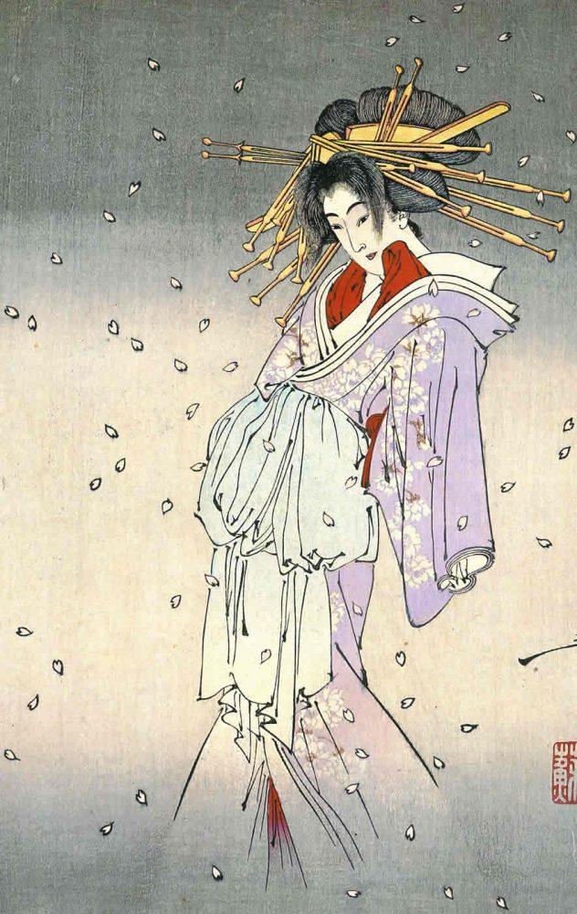 TSUKIOKA YOSHITOSHI: The spirit of the cherry tree (Komachi-zakura no sei)