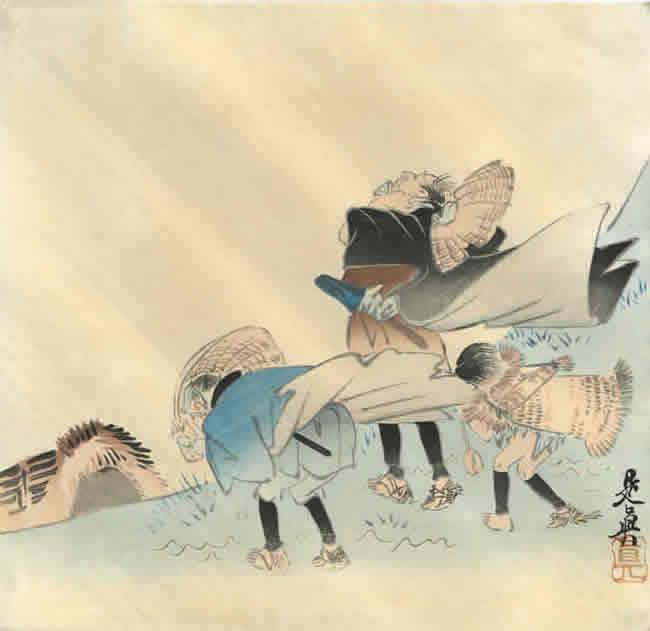SHIBATA ZESHIN: Three travellers caught in a sudden storm c.