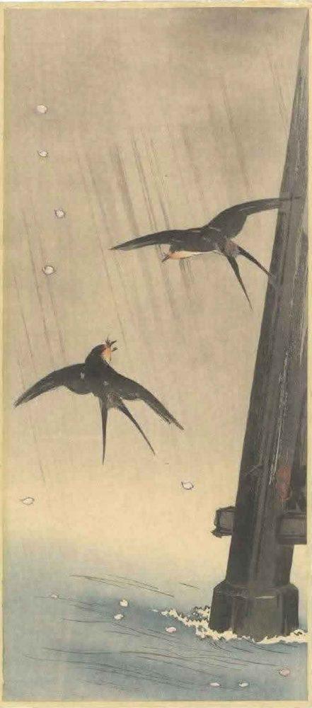 TAKAHASHI SHOTEI: Swallows in the rain c.