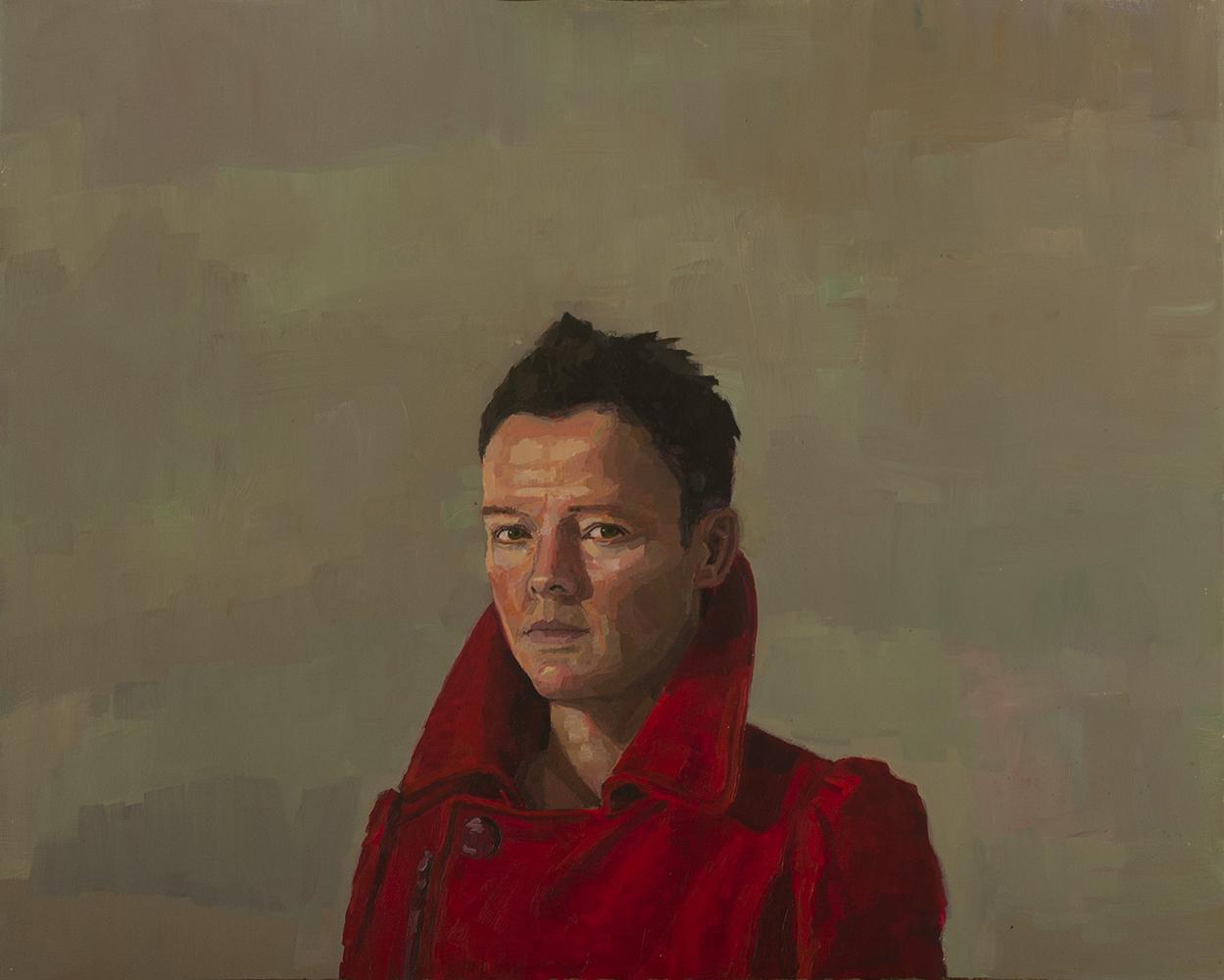Self portrait in red coat