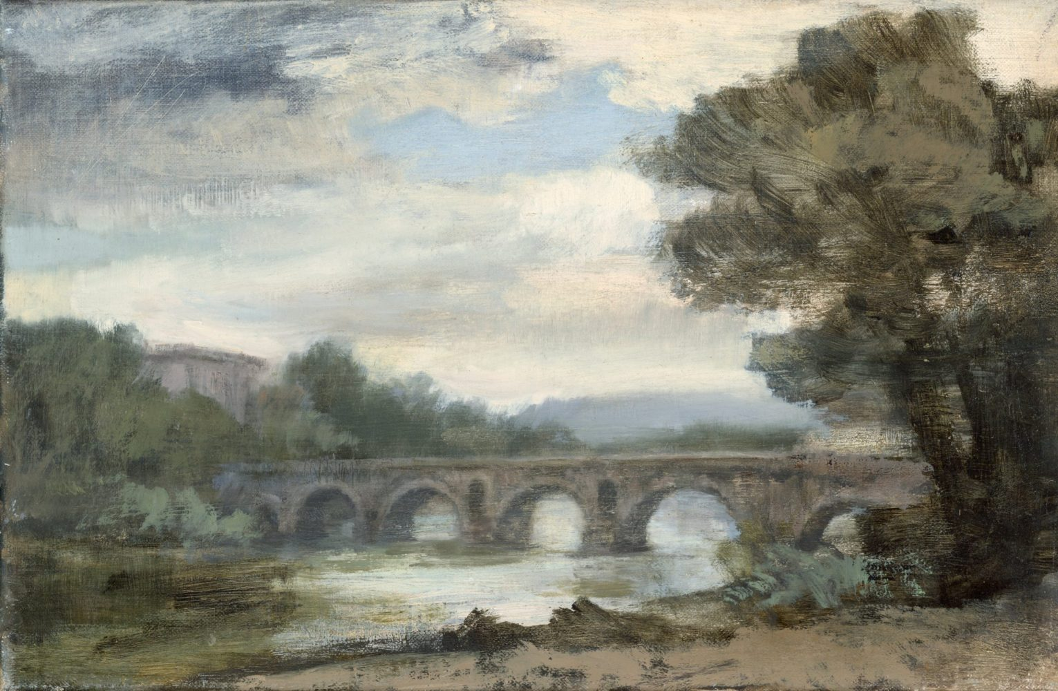Ponte Molle from the right bank of the Tiber