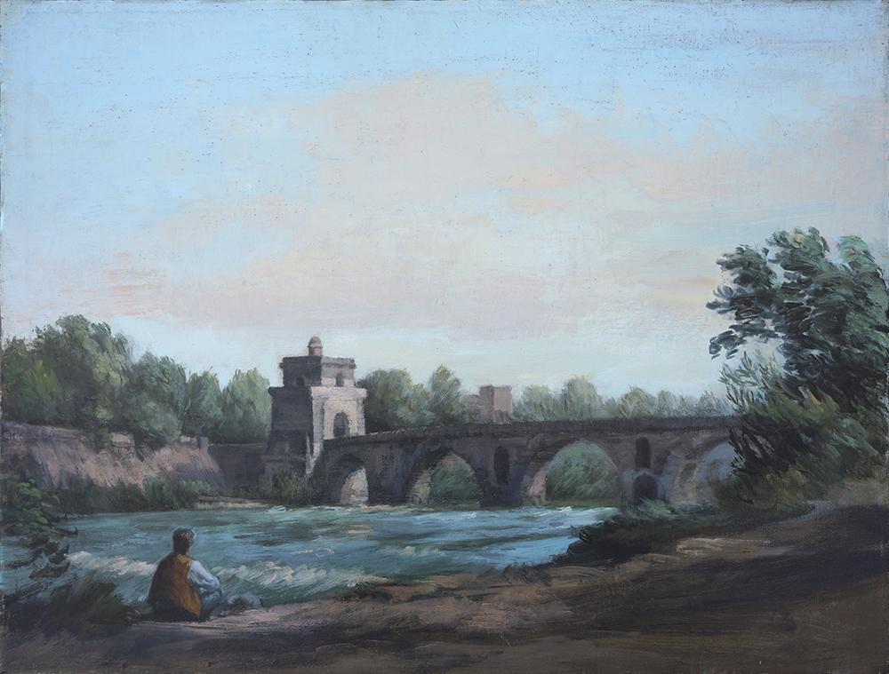 Christopher sketching at the Milvian Bridge, Rome