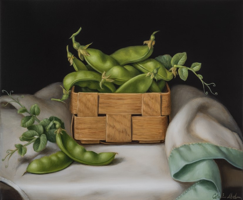 Still life with late harvest snow peas