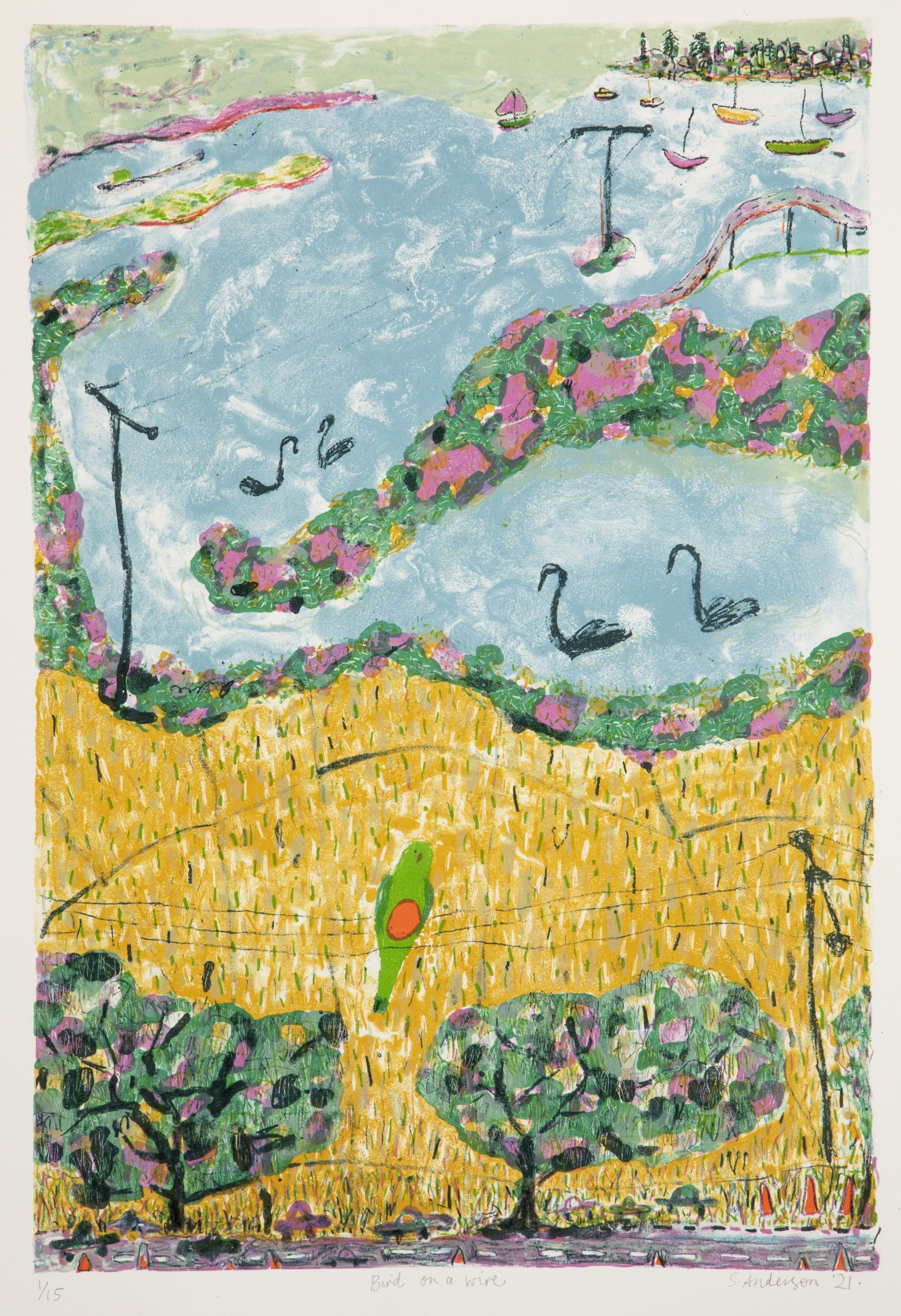 Sue Anderson 'Bird on a wire' new lithograph